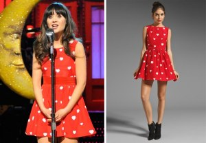 Zooey rocking in Rachel Antonoff.