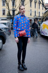 Chiara in Milan in J Brand jeans, Chanel bag-cute?